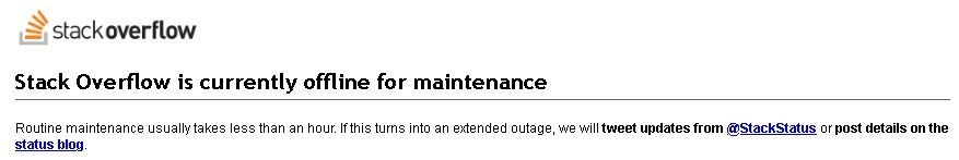 stack overflow maintenance notice