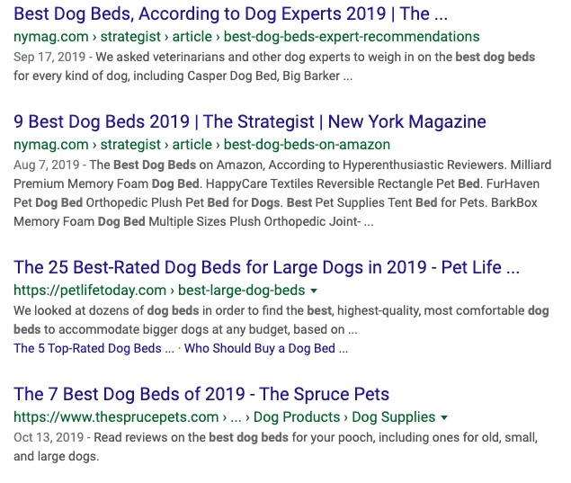 Example of many similar blog titles for dog beds