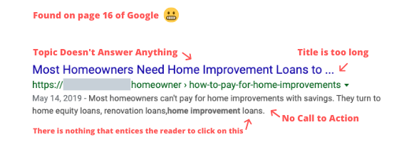 Example of a bad artcle topic in google search results