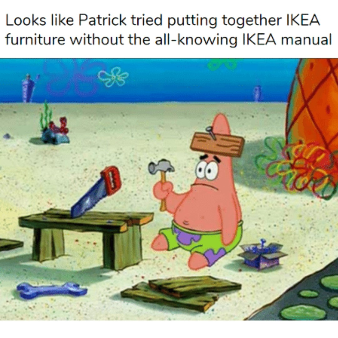 Patrick Star trying to assemble a bench