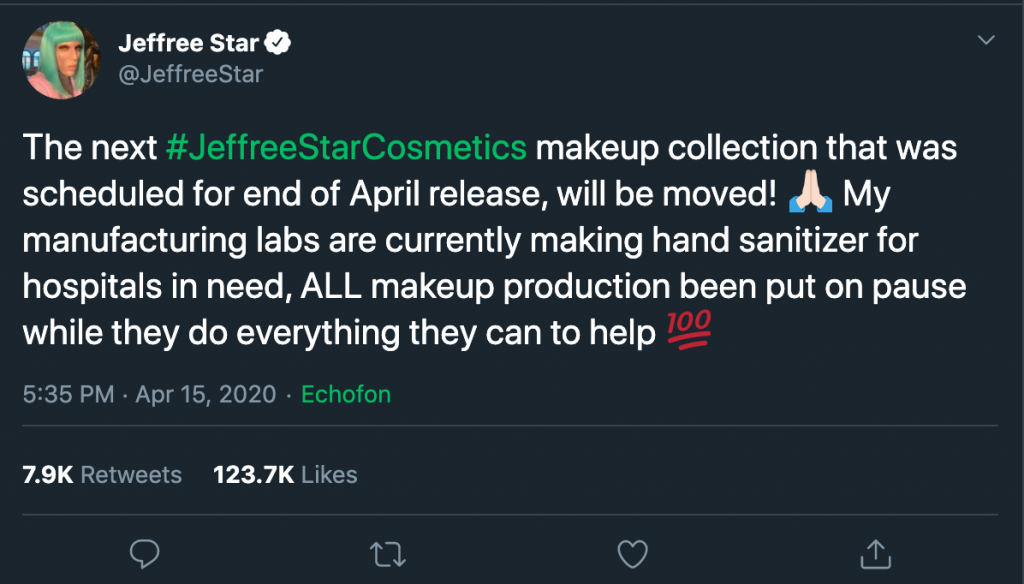 Jeffree Star Cosmetics COVID-19 twitter example